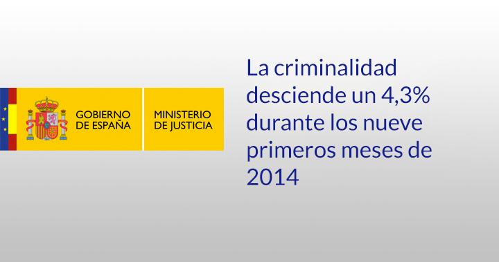 La criminalidad desciende un 4,3% durante los nueve primeros meses de 2014